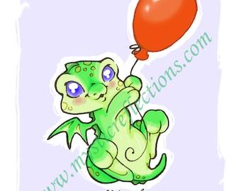Balloon Dragon Doodle Art Print