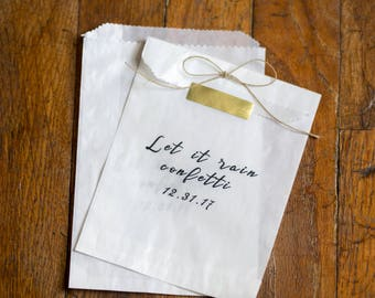 Let it Rain Confetti - Glassine Bags - size 4 3/4 x 6 3/4 inches  || Wedding Favor Bags, New Years Party Favors, Treat Bags