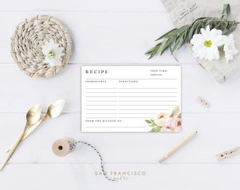 Printable Floral Recipe Cards, Bridal Shower Insert, Black, Floral - Tiffany - INSTANT DOWNLOAD PDF File