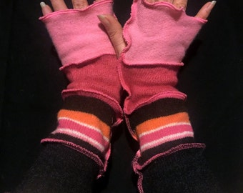 Upcycled Pixie Pink Orange Brown Cashmere and Wool Fingerless Gloves Arm Warmers Armwarmers Recycled Sweater Wristwarmers Repurposed Texting