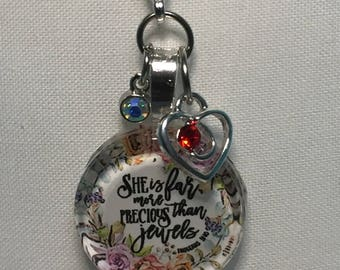 Planner Travelers Notebook Charm Bible Verse - She is far more Precious than Jewels
