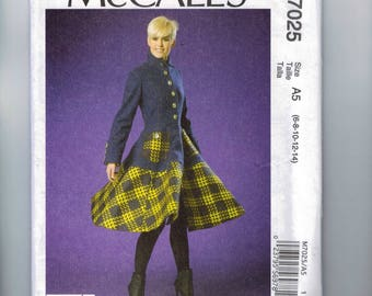 Misses Sewing Pattern McCalls M7025 7025 Misses Circle Skirt Twirl Jacket Military Retro Styling Size 6 8 10 12 14 Bust 30 31 32 34 36 UNCUT