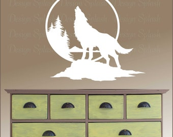 Wolf Wall Decal, Wolf Howling at the Moon Art, Home Wall Decor, Vinyl Sticker A-108