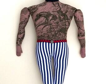 Dark Bearded Burly Tattooed Man doll plush toile circus strongman