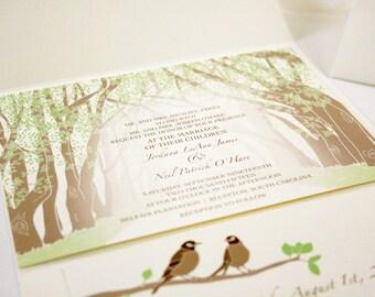 Plantation Wedding Invitation, Tree Invitation, Tunnel Pocketfold, Destination Wedding, Country Weddings Rustic Invitation, Love Birds