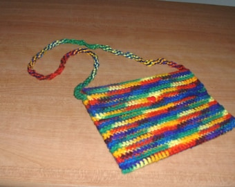 Colorful Purse, rainbow purse, crochet purse, handmade, crochet, hand bag, clutch, girls purse, heart button,handmade purse,bright purse,bag