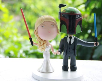 Jedi and Bounty Hunter wedding. Themed cake topper. Wedding figurine.  Handmade. Fully customization.