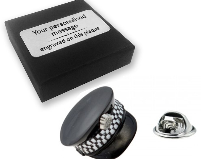 Police, policeman, police hat, lapel pin badge, tie pin, brooch accessory, boutonniere - personalised engraved gift box - 818