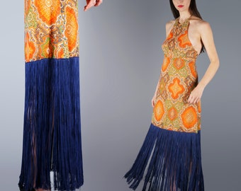 Paisley LONG Fringe Maxi Dress S Howard Hirsch Dress Boho Statement Dress Halter Dress