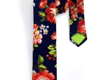 Navy Floral Skinny Tie, Mens Floral Tie, Floral Skinny Tie, Mens Skinny Tie, Neck Tie for Men, Slim Ties, Mens Neck Wear, Mens Tie