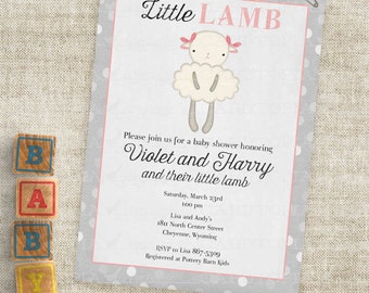 Pink Lamb Baby Shower with Gray Grey Stripes Baby Girl Little Lamb Invitations Custom Invites with Professional Printing Option
