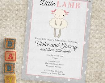 Rosa Lamm Baby-Dusche mit grau Streifen Baby Girl kleine Lamm Einladungen Custom lädt mit professioneller Druck-Option