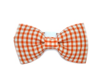Orange Check Gingham Shabby Chic Vintage Bow Tie Breakaway Collar Cat, Kitten , Rabbit, Bunny, Puppy, Small Dog - Cat Lover - Dog Lover.
