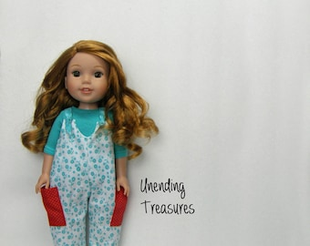 14 inch doll clothes made to fit like wellie wishers doll clothes aqua 3/4 length sleeve top and white with aqua floral overalls