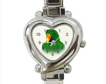 Male Eclectus Parrot Bird Ladies Women's Heart Italian Watch