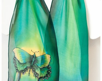 """Hand painted silk scarf. 10""""x58"""". Butterfly Silk Scarf. Painted silk scarf. Green silk scarf. Handpainted silk scarf. Swallowtail butterfly"""