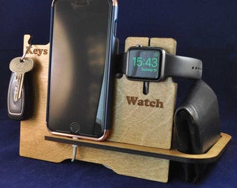 Wooden Valet Stand: Choice of Colours. iPhone (5, 6, 6+, 7 , 7+, 8, 8+, X) Apple Watch™ Night Stand, Keys and Wallet