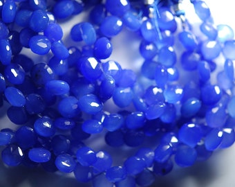 8 Inches, Cobalt Blue Chalcedony Faceted Heart Shape Briolettes 10-12mm