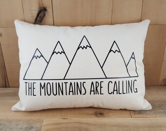 The Mountains Are Calling, Throw Pillows, Throw Pillow Covers, Mountain Nursery, Mountain Nursery Decor, Boy Nursery,Throw Pillow With Words