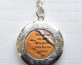 Footprints In The Sand Necklace, Photo Locket, Quote Jewelry, Inspirational Locket