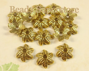 11 mm x 4 mm Antique Gold 6 Leaf Bead Cap - Nickel Free, Lead Free and Cadmium Free - 20 pcs