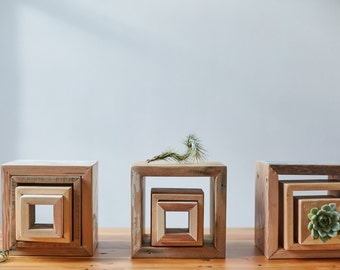 display cubes.  Set of three.  reclaimed wood