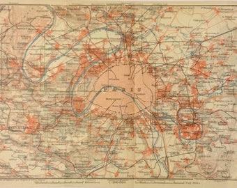 1913 Vintage Map of Paris, France, Excellent Condition!