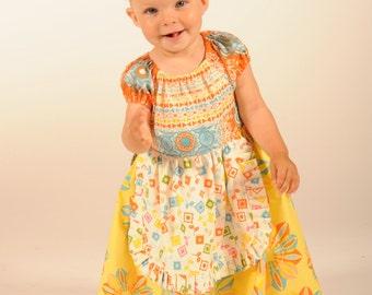 Toddler Apron Dress, Toddler Dress,  Toddler Sundress, Peasant Dress, Girl Dresses, Baby  girl dress, yellow, size 12-18 mos, 2 - 8