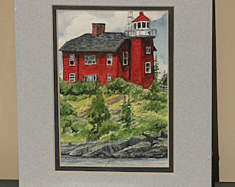 Marquette Lighthouse - Signed Original Watercolor