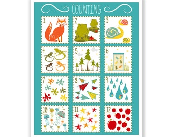 Children's Wall Art / Nursery Decor Number Counting Chart  Poster Print by Finny and Zook
