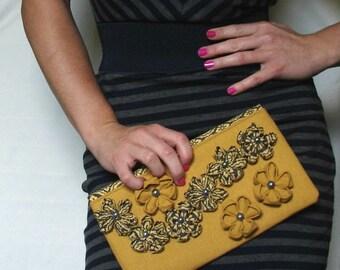 Yellow Clutch, Mustard Yellow Clutch, Flowered Clutch