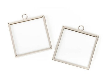 2x2 Inch Square Framed Glass Pendants, Set of 2 Solder Free Frames, For Photos, Dried Flowers, Ephemera