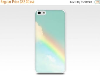 ON SALE iphone 6 case rainbow iphone 6s case clouds iphone 5s iphone 5 case sky iphone 5s case art iphone 5 case aqua christmas gift for her