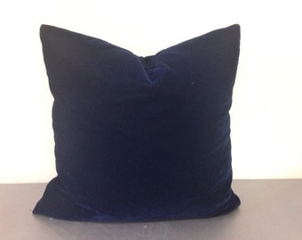 Navy Blue Velvet Decorative Throw Pillow Cover / Pillow Case / Cushion Cover / 20 x 20 Blue Velvet Pillow Cover/Classic Decor