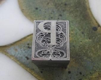 Vintage Letterpress Printers Block Metal Ornamental Burford Initial P