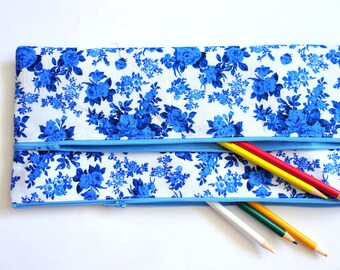 X Large Floral Pencil case 32cm x 15cm With Two Pockets and Two blue Zippers