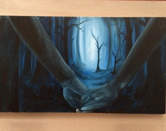 Out of the Woods blue hands grasped together in woods oil painting on wood