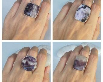 Raw Amethyst Large Ring- Statement February Birthstone Ring- Minimalist Smooth Purple Gemstone Ring-Purple Stone Sterling Silver Ring