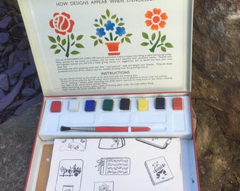 Unused Vintage 1950's Stencil Outfit Tin Complete with Stencils, Instructions and Paint Brush