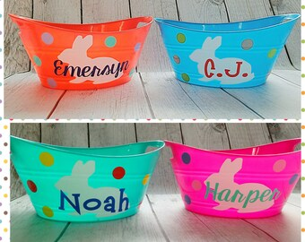 Easter Bucket, Plastic Easter Bucket, Easter Basket, Custom Easter Basket, Personalized Easter Bucket, Bunny Basket, Bunny Bucket, Easter