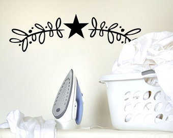 Country Primitive Decor Pip berries Vinyl Wall Decal farmhouse Style Star stickers Primitive decorations modern Star decals farmhouse decor