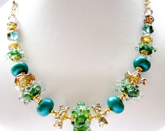 Bright Color Lampwork Glass Beaded Necklace, Teal Green Gold, Bumpy Beads, Gold Filled, Yellow Gold Vermeil, On SALE Ready To Ship, Gift Box