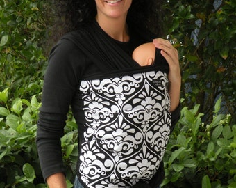 Baby Wrap Sling Carrier-White Damask on Black-DvD Included-One Size Fits All