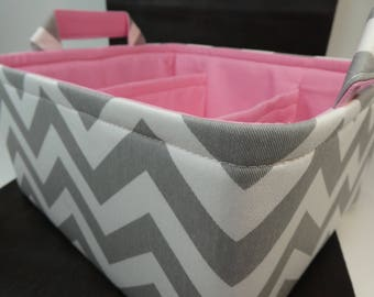 "Large Diaper Caddy-12""x 10""x 6""(CHOOSE Basket & Lining COLOR)Two Dividers-Baby Gift-Fabric Storage Organizer-Chevron-""Grey Zigzag"""
