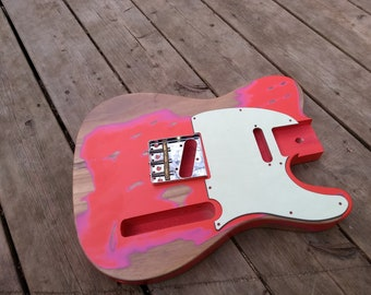 Ruby Red Heavy Relic Vintage tele Guitar body fits OEM 2 3/16th pocket Nitrocellouse light finish for fender project