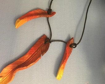 Leather Firebird/Phoenix necklace