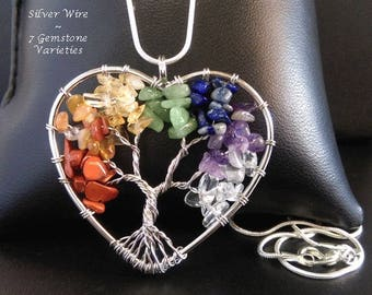 Tree of Life Necklace with 7 Various Gemstones on this Silver Wire Wrapped Tree of Life Necklace Pendant | Tree of Life Necklace TOLN040
