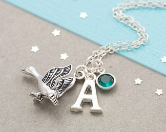 Goose necklace, personalized jewelry, birthstone necklace, initial necklace, flying bird, bird jewelry, duck necklace, silver goose charm