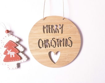 Merry Christmas with Heart Wooden Bamboo Door-Wall Hanging-plaque-merry christmas- wall art-christmas decoration-ornament-bauble