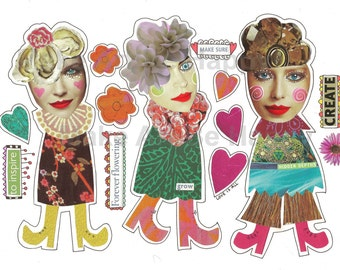 Digital collage sheet,nr. Do8, quirky dolls , whimsical creatures, handmade, scrapbooking, journaling